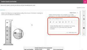 text-based feedback entry box